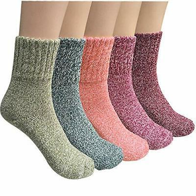 5 pairs womens wool socks thick knit