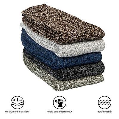 5 Pairs Wool Socks Warm Crew