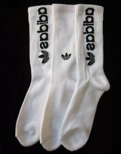 6 Pack Mens Adidas Originals Crew Socks White Black Trefoil