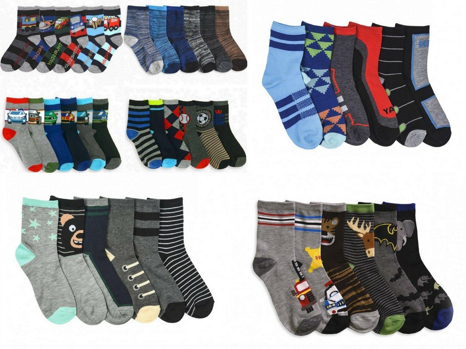6 Pairs Boys Crew Socks Toddler, Little Kid or Big Kid Sizes