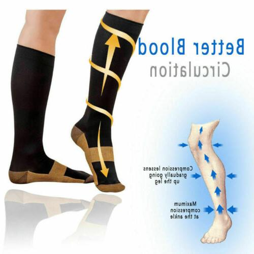 6 Pairs Socks 20-30mmHg Graduated Men Copper