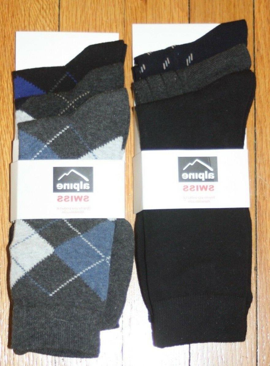 6-Pk Swiss Men's Cotton Dress Socks Argyle Shoe Size $60 val
