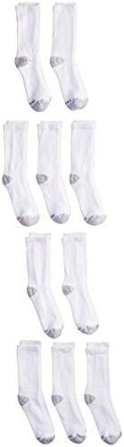 Hanes Ultimate Boys' 10-Pack Crew Socks, White, Large - Sh
