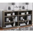 Set of 2 Adjustable 3 Shelf Wood Bookcase Storage Book Wide
