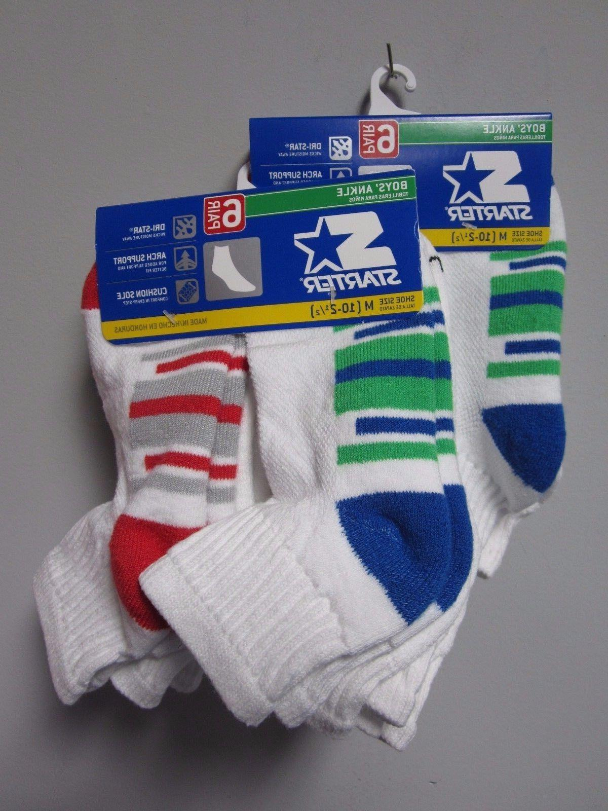 Starter Boys' Ankle Socks 6 Pair Shoe Size M  Now TWO PACKS!