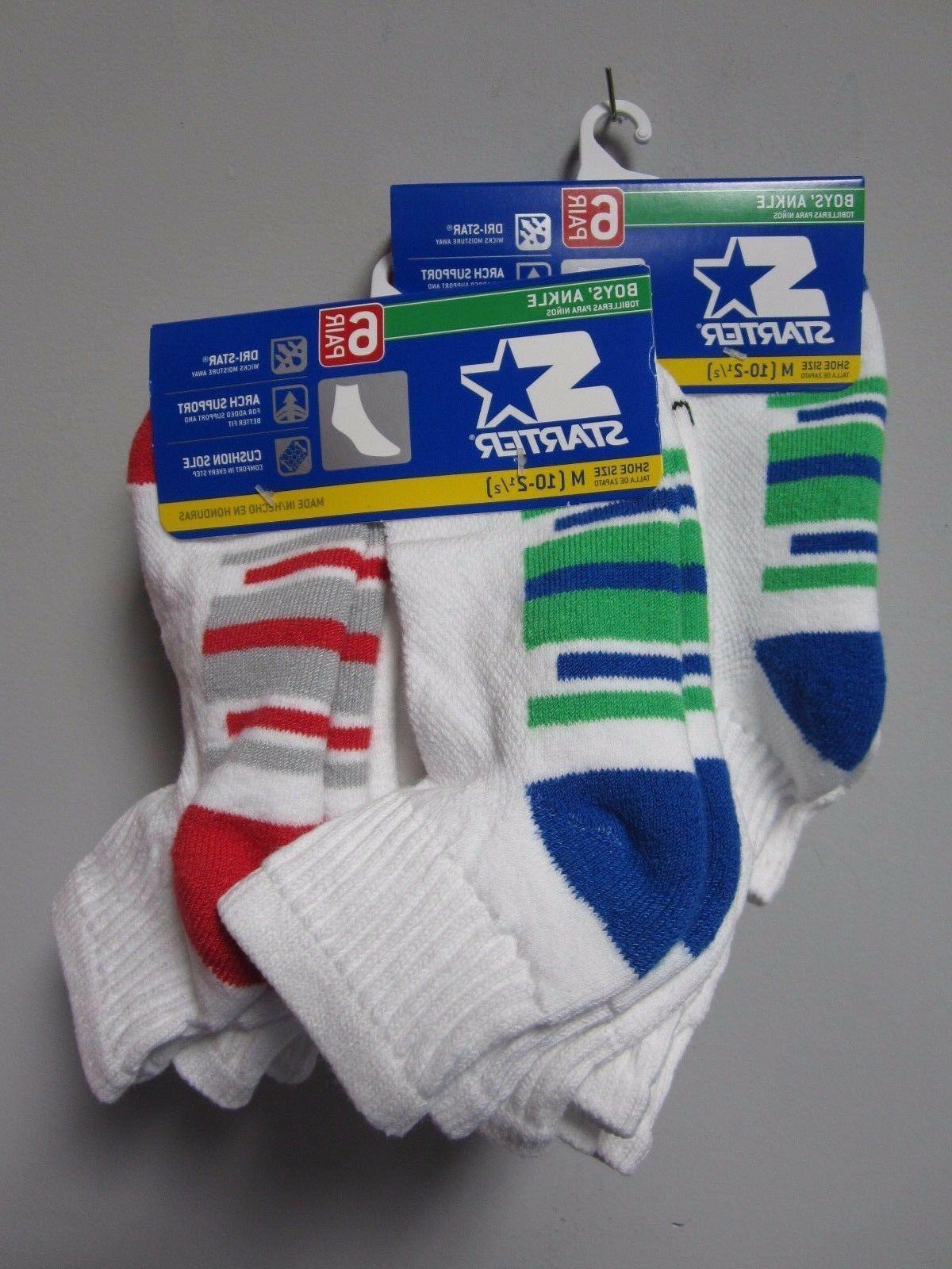 Starter Boys' Ankle Socks 6 Pair Shoe Size M  Now TWO PACKS!