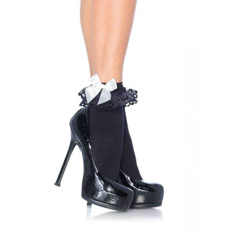Leg Avenue Anklets With Lace Ruffle & Satin Bow 3029 Black/W