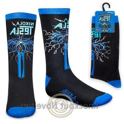 Archie McPhee Nikola Tesla Mens Crew Socks