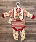 Baby Boy Sock Monkey Coverall Outfit Pajamas Puppy Bib Set S