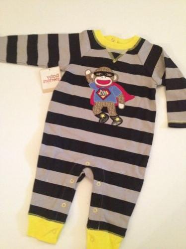 Baby Boy Sock Monkey Coverall Pajamas Size 3 6 9 12 Months S