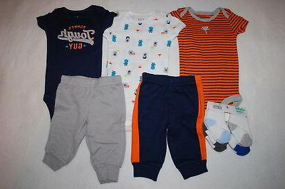 Baby Boys 9 PC CLOTHING LOT T-Shirts Pants Socks MONSTERS SP
