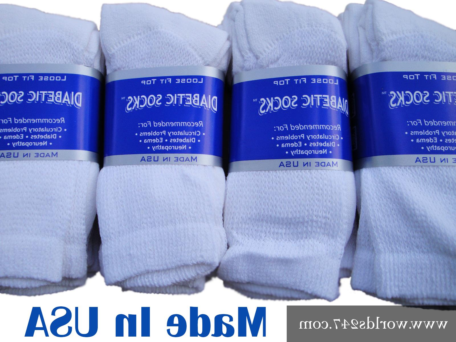 BEST QUALITY CREW DIABETIC SOCKS 6,12,18 PAIR MADE IN USA SI