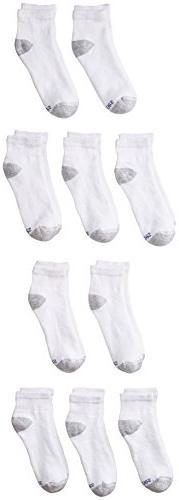 Hanes Ultimate Boys' 10-Pack Low-Cut Socks, White, 5-6.5