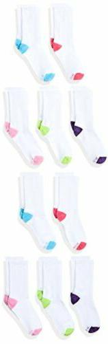 Girls' Crew EZ Sort Socks Assorted 10-Pack Hanes S Assorted