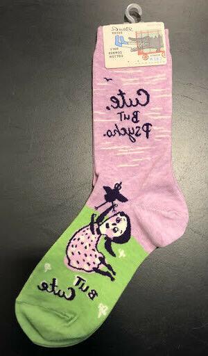 Blue Q Women's Crew Socks, Cute, But Psycho. But Cute - Lt.