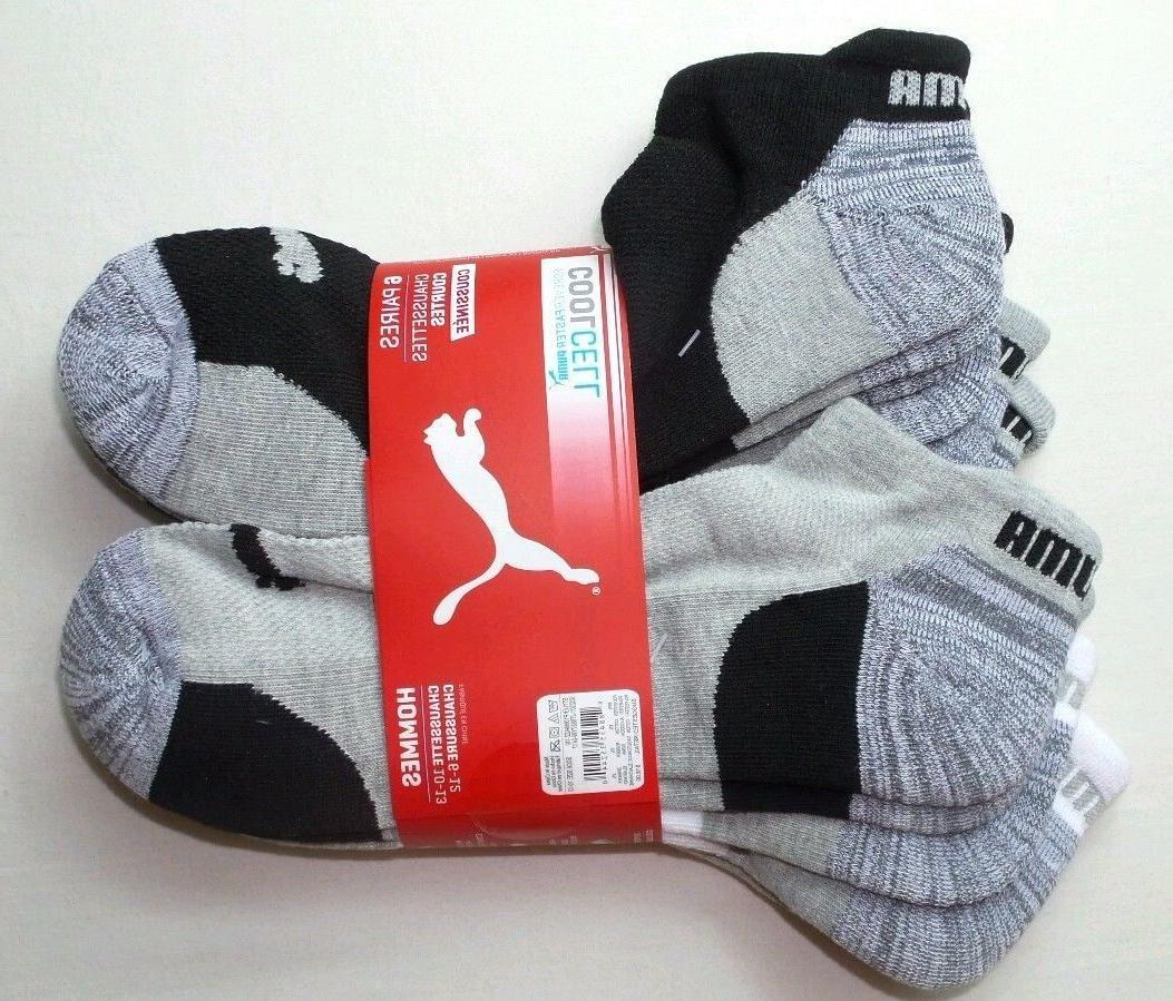 Puma Men's Low Cut Socks 6 Pack Large 10-13 Grey White Black