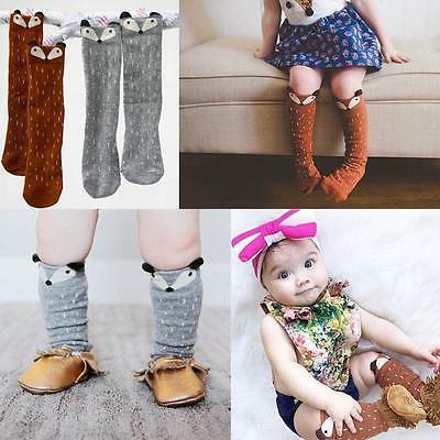 Cute Toddlers Kids Girls Fox Pattern Knee High Socks For Age