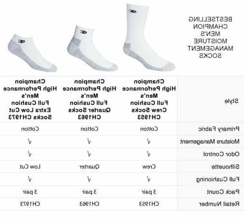 "Champion Dry® HIGH Performance Men's 3-Pack Crew Socks ""Made In USA"""