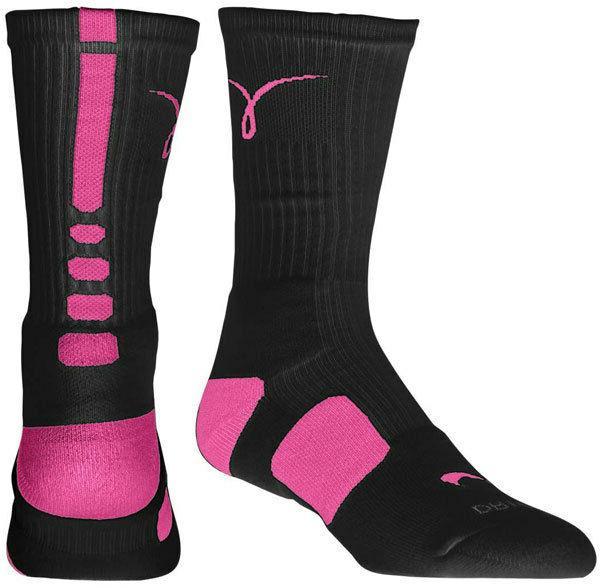 Nike Elite Kay Yow Sock Breast Cancer Socks - M or L - Black