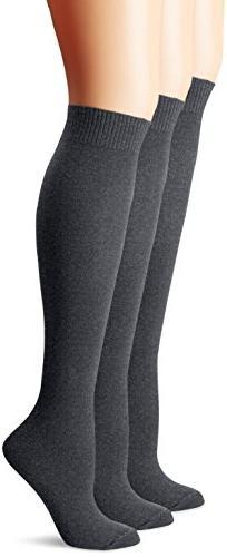 HUE Women's Flat Knit Knee Socks ,Graphite Heather,One Size