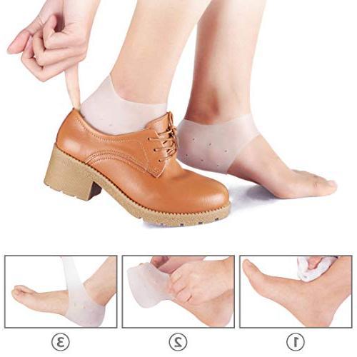 Kalevel 4pcs Heel Protectors Cushion Pads Gel Sleeves Plantar Heel Pain Relief Moisturizing Socks Heel Cups Achilles Heel Spurs Heel