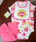 Baby Starters Girls 3 Pc Sock Monkey Set Bodysuit/Pants/Bib