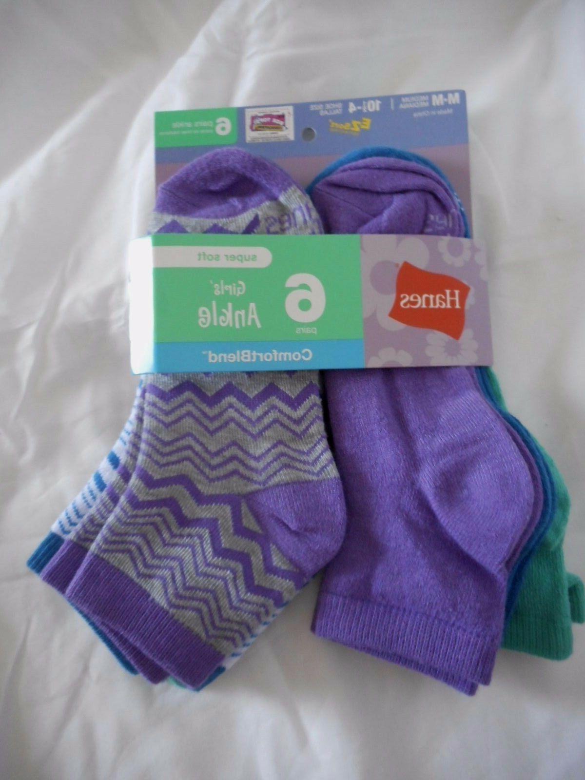 girls ankle socks 6 pair size medium