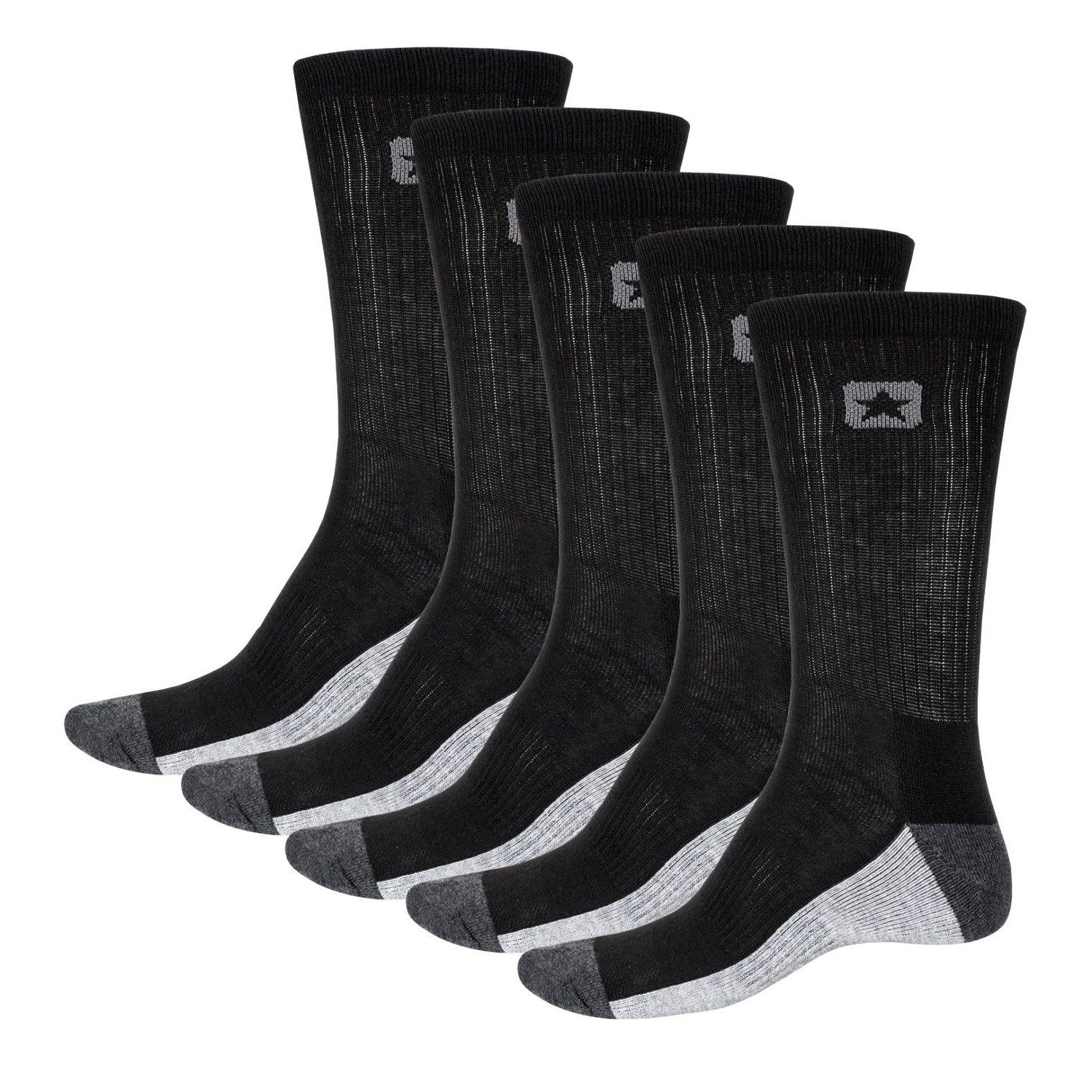 Converse Half Cushion Men's Crew Socks Black Gray 5 Pairs Pa