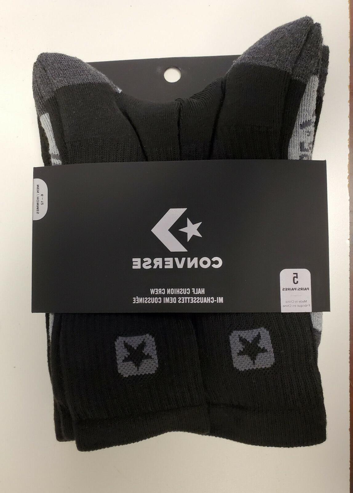 Converse Half Cushion Men's Crew Socks Black Gray 5 Pairs Pa