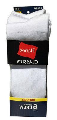 Hanes BIG & TALL 6 paris cushion Crew white socks fit shoe s