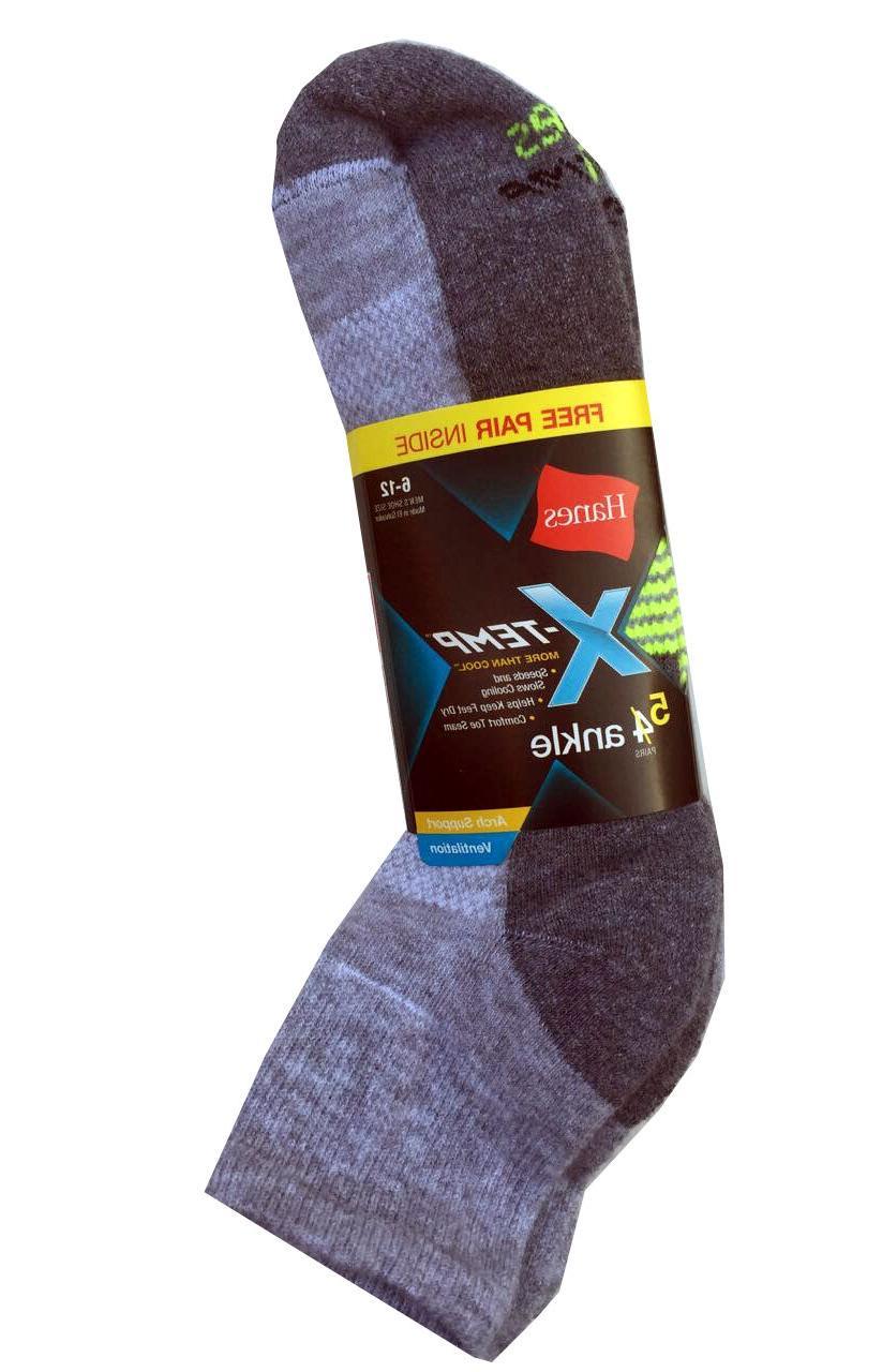 "Hanes Men's X-TEMP Ankle Socks 5-Pack   ""Active Cool & Venti"