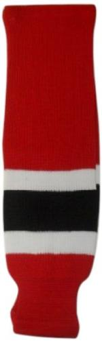 DoGree Hockey New Jersey Knit Hockey Socks, Red/White/Black,