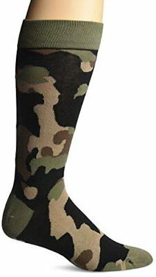 K. Bell Socks Men's Crew, Olive Camouflage, 10-13