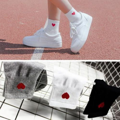 Kawaii Cute Women Heart Pattern Soft Breathable Ankle-High C
