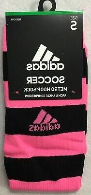 Adidas Kids 1 Pair Soccer Metro Hoop Socks 5137788 Pink Blac