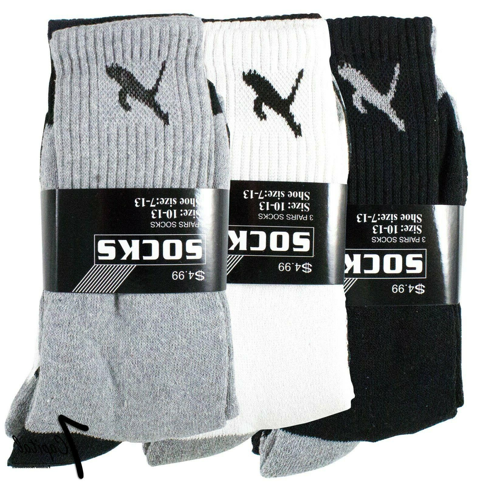 Lot 3-12 Pairs Solid Athletic Plain Socks Size 9-11