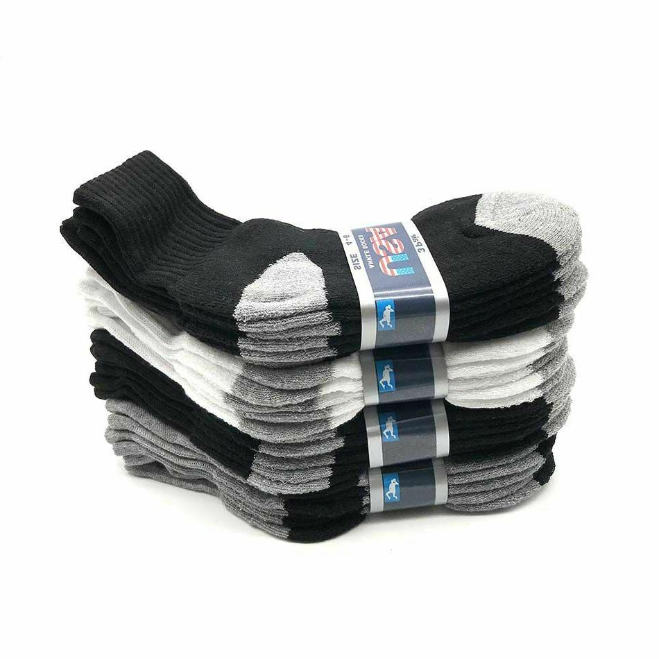 Lot 6 -12 Pairs Solid Sports Athletic Crew Socks Size New