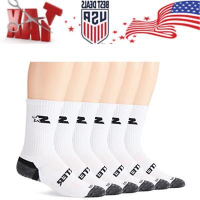 Starter Men's 6-Pack Athletic Crew Socks Prime Exclusive Whi