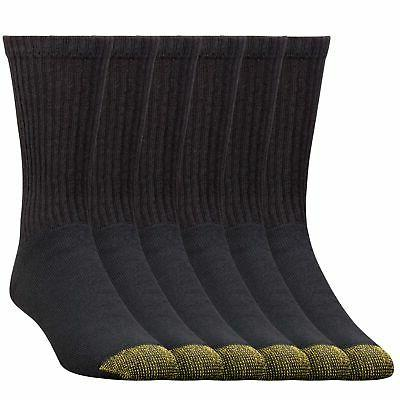 Gold Toe Men's 6 Pack Cotton Crew Big and Tall Athletic Sock