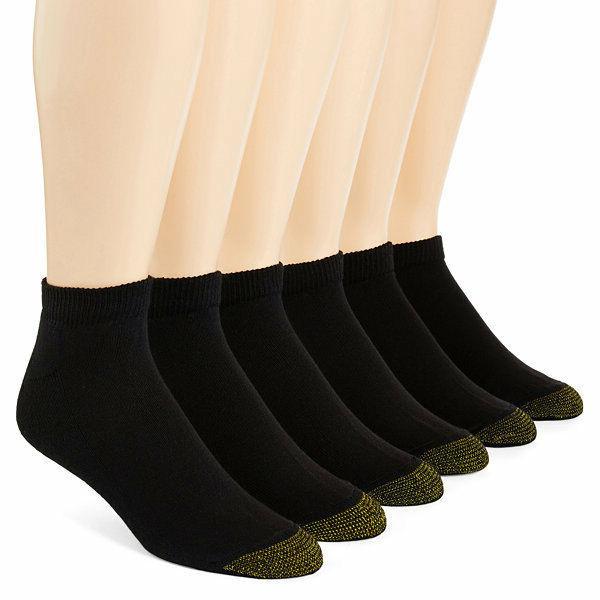 Gold Toe Men's Black Cotton Quarter Athletic Sock Six-Pack -