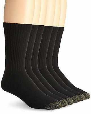 Gold Toe Men's Crew Socks Black 6-Pair Sock Size 10-13 Cotto