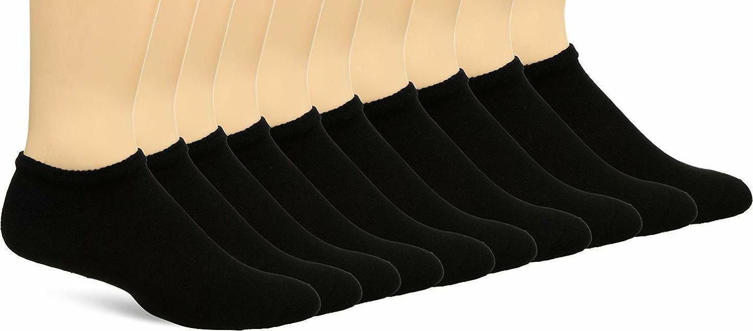 Fruit of the Loom Men's No Show 10 Pack Sock, Black, Shoe Si
