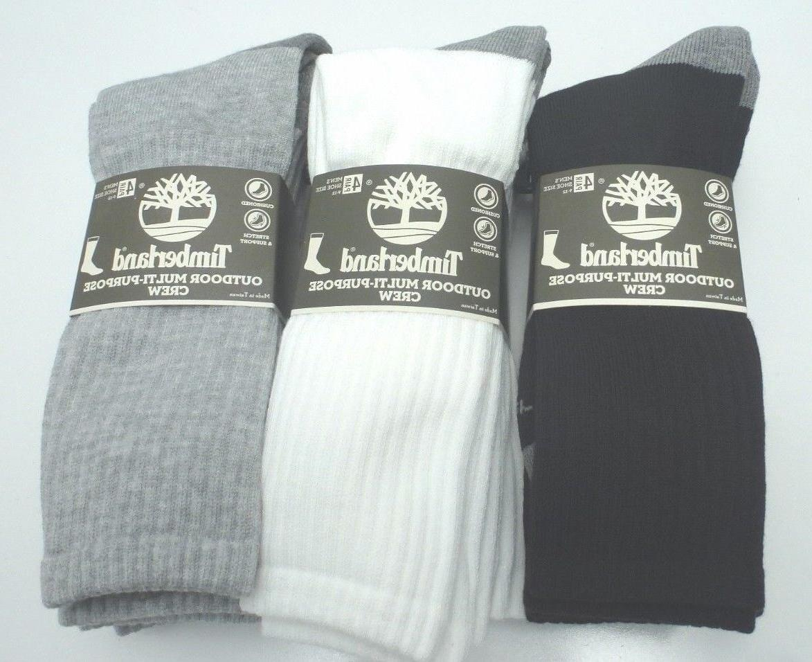 TIMBERLAND Men's Outdoor Crew Socks *4 Pair Black/Gray/White