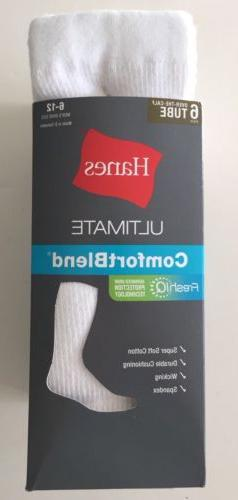 Hanes Men's White Over-The-Calf Tube Socks 6 Pairs Size 6-12