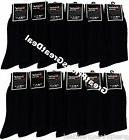 Mens 12 Pairs Knocker ALL BLACK Ribbed Dress Socks #S002 Siz