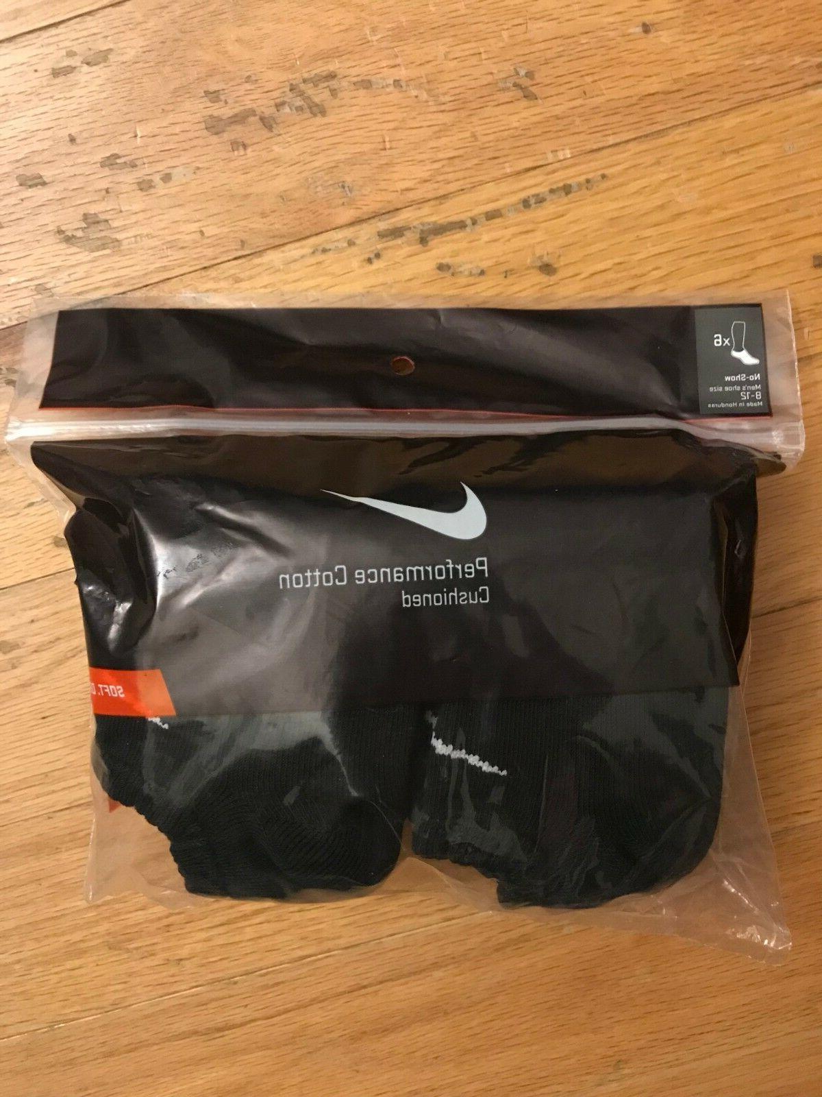 Nike Mens Black No Show Socks Size Large Performance Cotton