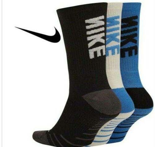 Nike Mens Crew Socks Everyday Max Training Dri-Fit Blue Mult