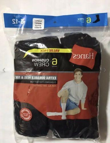 Hanes Cushion Crew Socks Sport 6 Pair Black!!