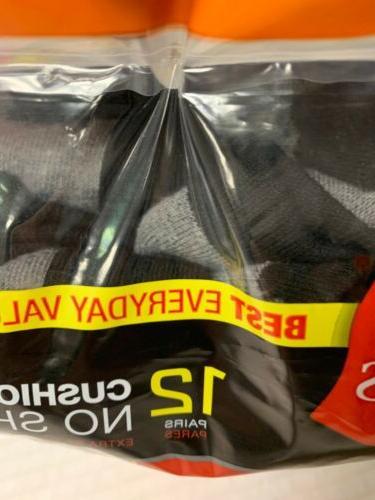 Hanes Mens Socks 12pack Black Cushioned Bottom Wicking New