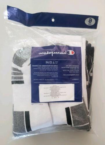 Mens Champion 6 White assort Athletic Crew Cut Socks